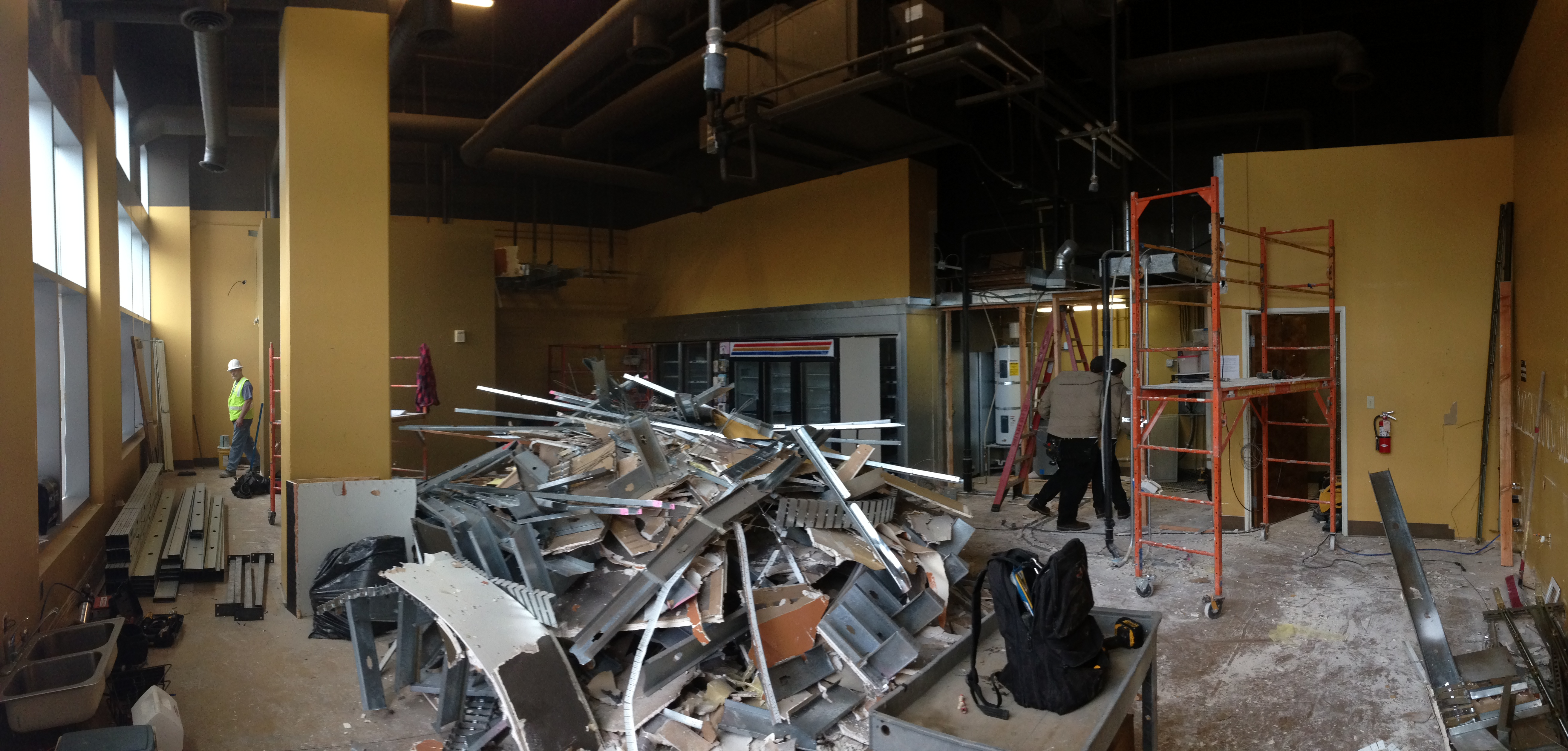 Debris from the former space layout covers the floor at The Civic Taproom and Bottle Shop.